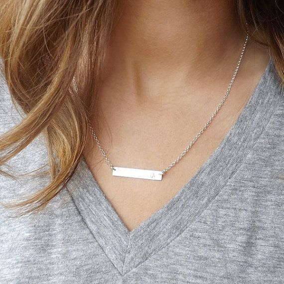 Bar Necklace Personalized Name Plate NecklaceSilver by Savijewelry