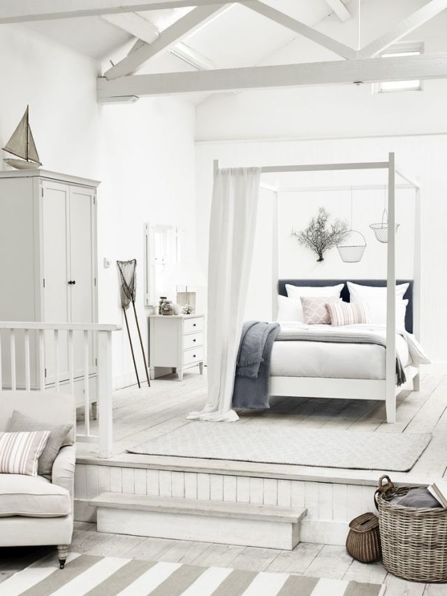 New coastal bedroom decorating scheme: Choose a palette of soft greys on a backdrop of chalky white. Incorporate a mix of textures into your scheme, and team those with pale, space-enhancing colours. (Photo: Neptune). Find more inspiration at housebeautiful.co.uk