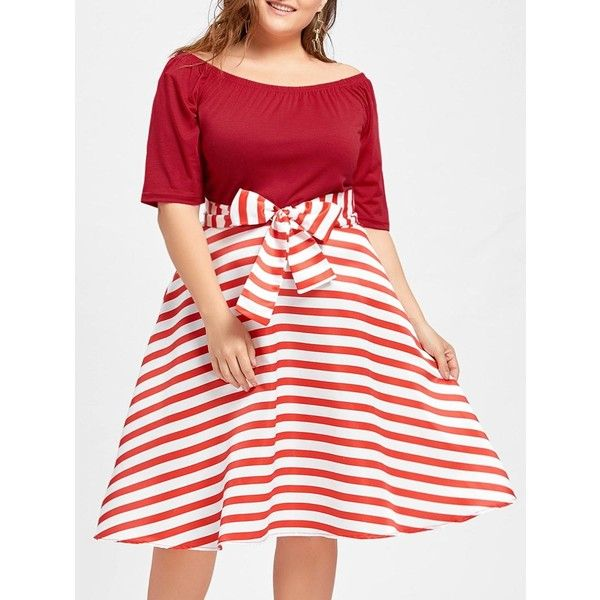 Stripe Plus Size Christmas Party Knee Length Dress 18 Liked On
