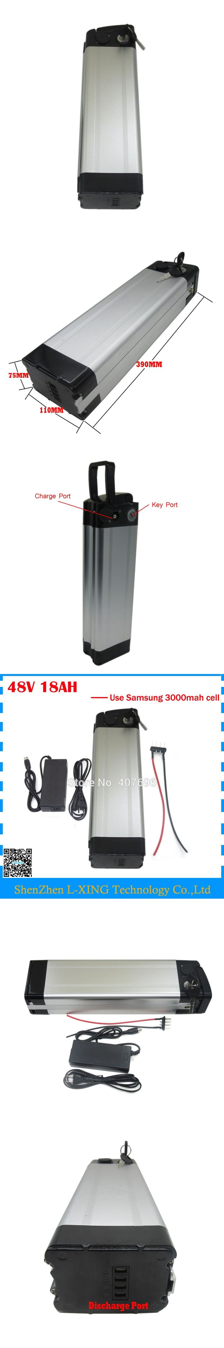 Free customs duty battery 48v 18ah 48V silver fish Battery electric bike 48V 18AH use Samsung 3000mah cell 20A BMS 2A Charger