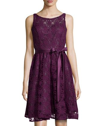Sleeveless Tie-Waist Lace Cocktail Dress, Plum  by Marina at Neiman Marcus Last Call.