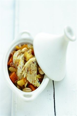Tajine de raie, potimarron et pomme au safran - Larousse Cuisine