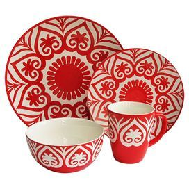 """Sixteen-piece earthenware dinnerware set with floral-inspired motifs.  Product:  4 Dinner plates4 Salad plates4 Soup bowls4 MugsConstruction Material: EarthenwareColor: Red and whiteFeatures:  Mugs have a 15.5 ounce capacity eachDimensions: Dinner plate: 11.5"""" Diameter eachSalad plate: 8.25"""" Diameter eachBowl: 6.13"""" Diameter eachMug: 4"""" Diameter eachCleaning and Care: Dishwasher safe"""