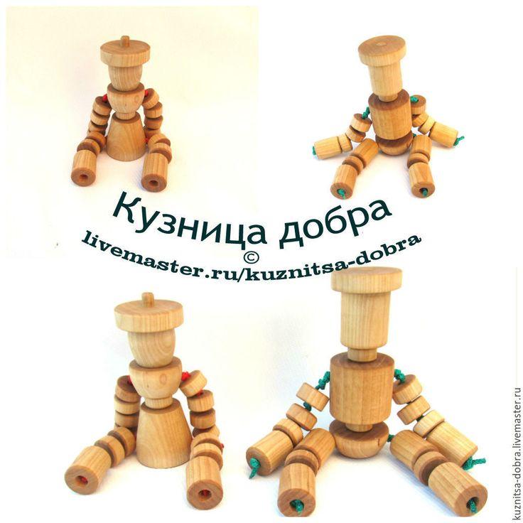 Купить Деревянные куклы - бежевый, деревянные игрушки, кукла деревянная, игрушки из дерева, робот