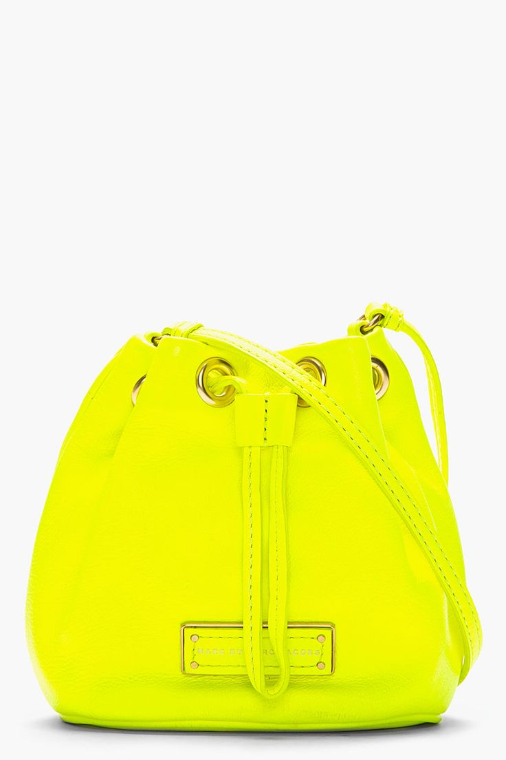 MARC BY MARC JACOBS //  MINI NEON YELLOW LEATHER TOO HOT TO HANDLE DRAWSTRING BAG $200