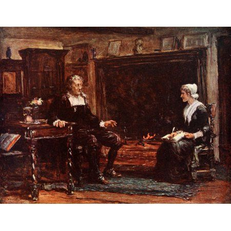 Poets Country 1907 Interior of Miltons cottage Canvas Art - Francis S Walker (24 x 36)