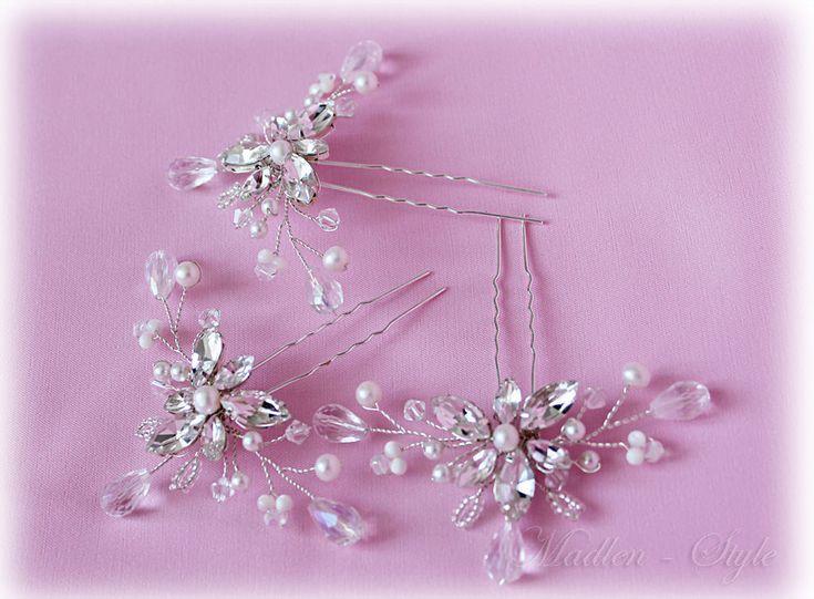 """Купить Шпильки """"Хрустальная Нежность"""" - белый, свадебные шпильки, украшение в прическу, шпильки невесты, стразы"""