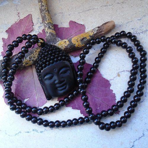 Achat, Buddha, Boho, Yoga, Amulett, Halskette mit schwarzen Perlen in Uhren & Schmuck, Folkloreschmuck, Asiatischer Schmuck   eBay