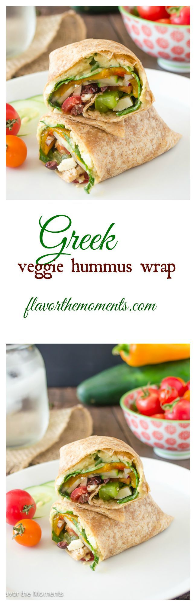 Greek Veggie Hummus Wrap | flavorthemoments.com