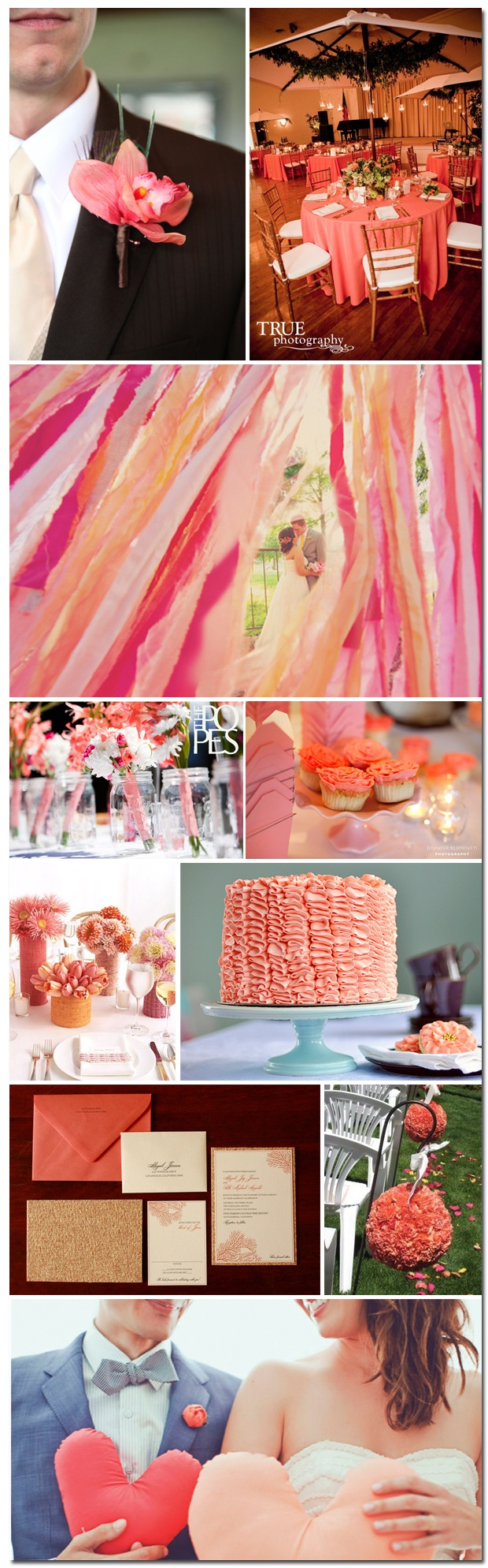 I adore the streamers in this inspiration board.  Apparently coral is the hot color for spring/summer 2011 weddings.