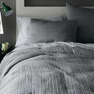 Organic Braided Matelasse Duvet Cover + Shams - Feather Gray #westelm