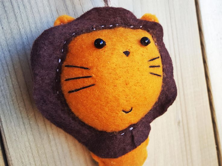 LION - Keychain - Felt Plush Ornament - Gift for Him/Her, Birthday, Kid, Christmas Ornament Present - Cute, Funny, Punny, Soft Toy by THEBRANCHANDTHEVINE on Etsy