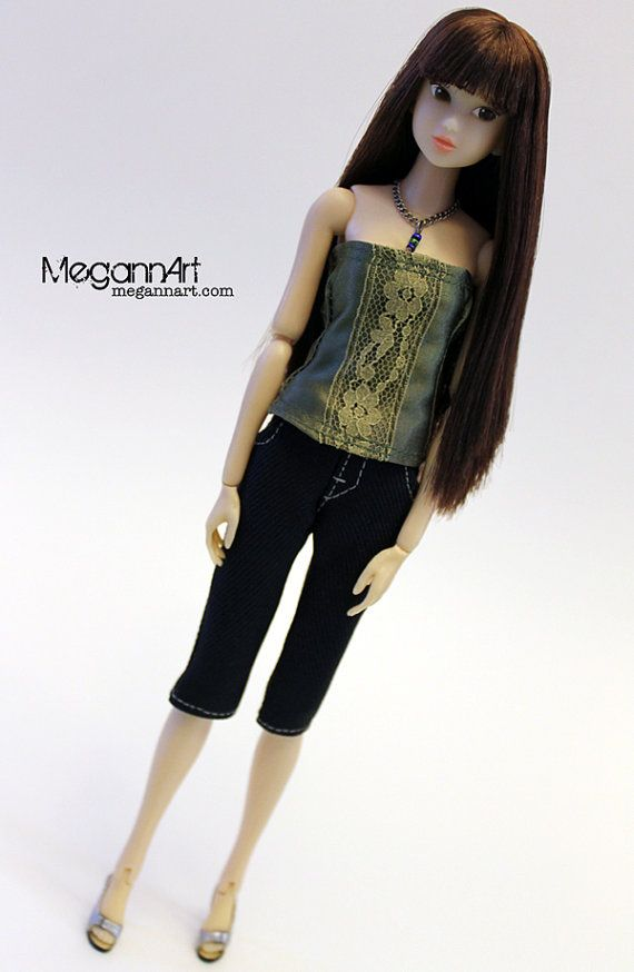 Satin Green Top Outfit for Momoko and Other 16 Scale by MegannArt