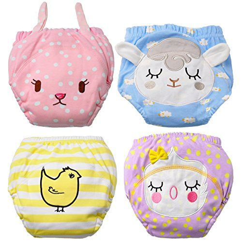 Baby Girl's Training Pants Toddler Training underwear 4 Packs Cute Potty Cloth Diaper Cotton Nappy Underwear for Kids Reusable 3 Layers Potty pants  Material: inner layer: 100% cotton. Middle layer: 80% cotton, 20% polyester  Three layers: soft, breathable cotton with layered mesh added in the middle.  Water Resistance: A breathable absorbent padded layeris partially waterproof, helping to catch small accidents, resulting in less clean up.  Easy to pull up and down: Great bridge from ...