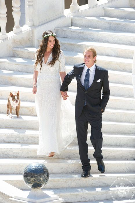 Hello!-Wedding of Andrea Casiraghi and Tatiana Santo Domingo, Prince's Palace of Monaco, August 31, 2013.  The bride's dress is believed to be by Missoni.  With the marriage, their son Sacha Casiraghi, born March 21, 2013, becomes third in line to the throne of Monaco behind his grandmother Princess Caroline and his father Andrea.