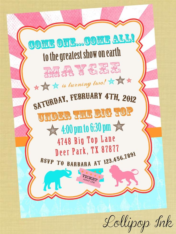 Vintage Circus Bright Birthday Invitation, Pink Circus Carnival Personalized Birthday Invite, Baby Shower Invitation. $13.50, via Etsy.