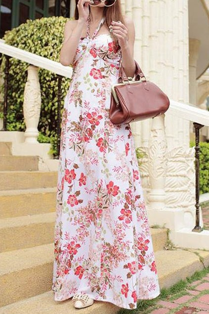 Flower Print Cross Neck Strapless Dress