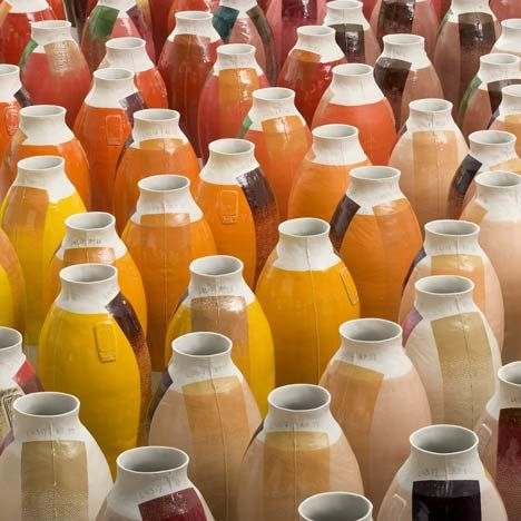 Dutch designer Hella Jongerius presents 300 porcelain vases coloured with layers of mineral and chemical glazes at the Museum Boijmans Van Beuningen in Rotterdam-2010-