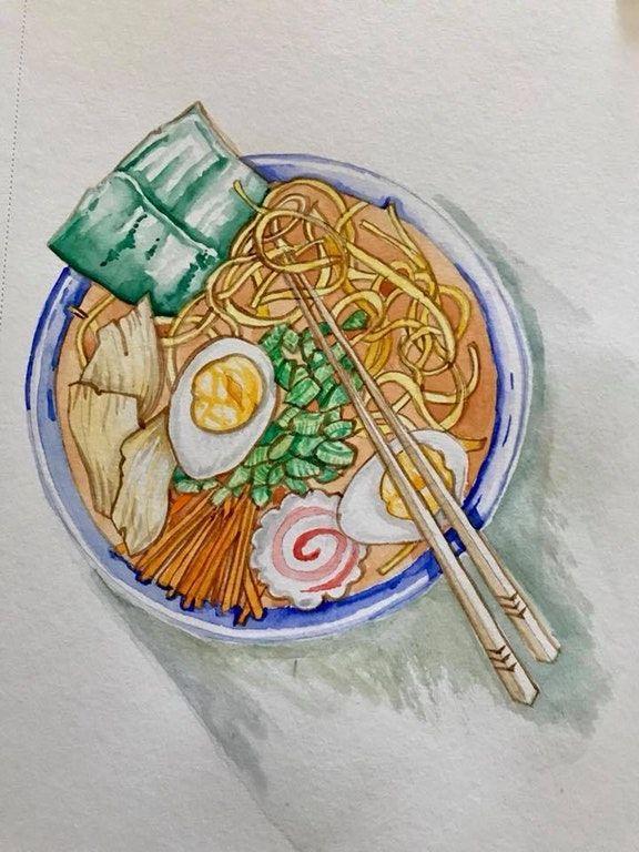 Bowl Of Ramen Watercolor Food Illustration Art Japanese Food Illustration Food Drawing