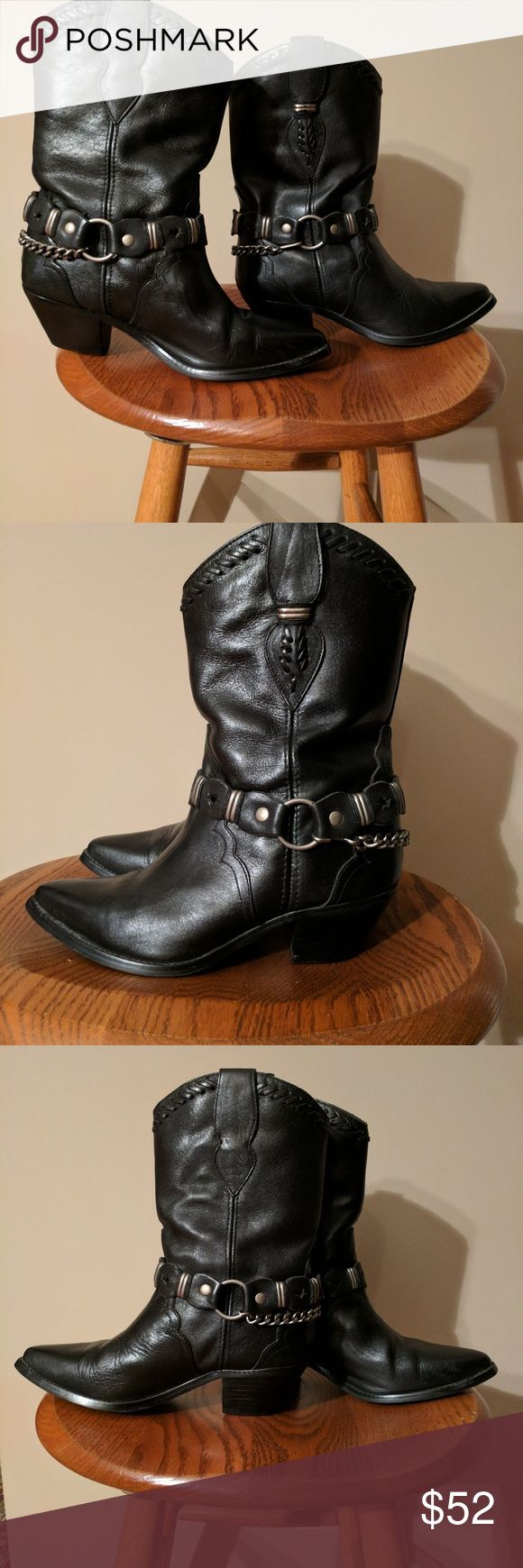 Black Leather Harness Boots Code West black leather harness boots in very nice preowned condition.  Leather strap can be removed from boot.  Size 6 1/2.  Made in Brazil. Code West Shoes Winter & Rain Boots