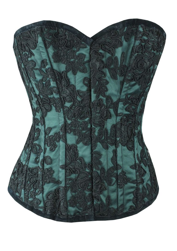 SATIN WITH TULIP LACE | ONE OFF | LIMITED EDITION-GREEN  by Vollers Corsets | Since 1899