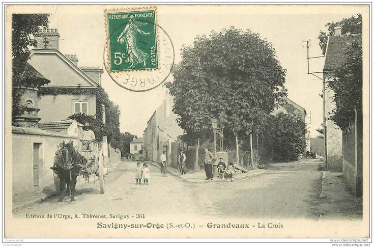 91 SAVIGNY-SUR-ORGE. Grandvaux. La Croix 1907 Forgeron Et Attelage - Savigny Sur Orge