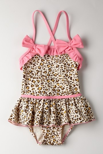 Mia Belle Baby  Animal Print Skirted Swimsuit with Pink Trim