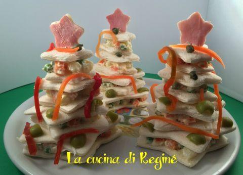 Alberelli di pancarrè ripieni di insalata russa/ dal mio blog