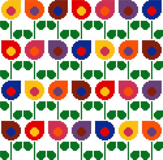 Drop shaped retro flowers in bright colours. Modern cross stitch pattern. Contemporary cross stitch design.