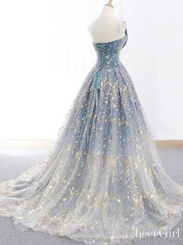 03a7ad9de02 Spaghetti Strap 3D Flower Applique Sky Blue Prom Dresses Ball Gowns ARD1609  in 2019
