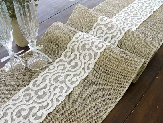 Burlap table runner (11 available) , burlap and lace rustic table runner, country wedding table runner  handmade in the USA, Ready to ship