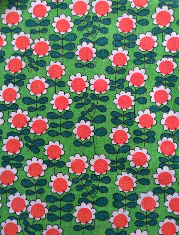 Fantastic rare 60s mod floral fabric swedish scandi by Inspiria