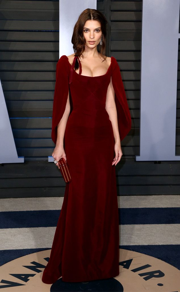 Emily Ratajkowski from 2018 Vanity Fair Oscars After-Party  The newlywed model struck a pose in a scarlet gown accented with a cape.