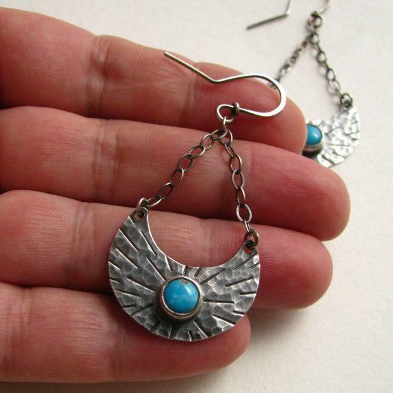 Turquoise Earrings Ethnic Sterling Silver Earrings by Mocahete