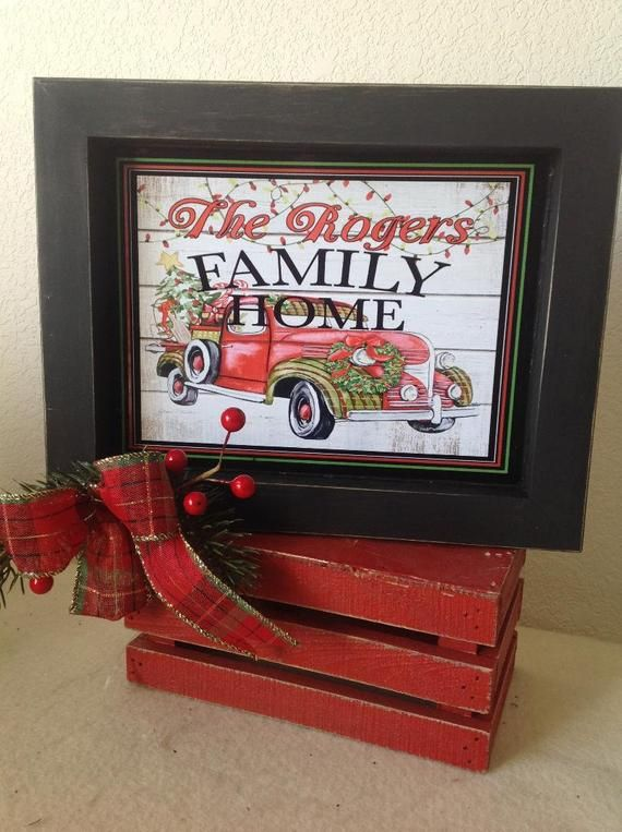 Personalized Family Sign, Red Truck Christmas Sign, Personalized
