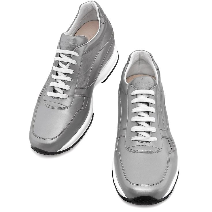 Elevator Shoes for Women : Barcelona W. Upper in grey full grain leather, insole in genuine leather, 2 pairs of cotton shoe laces. Hand Made in Italy.