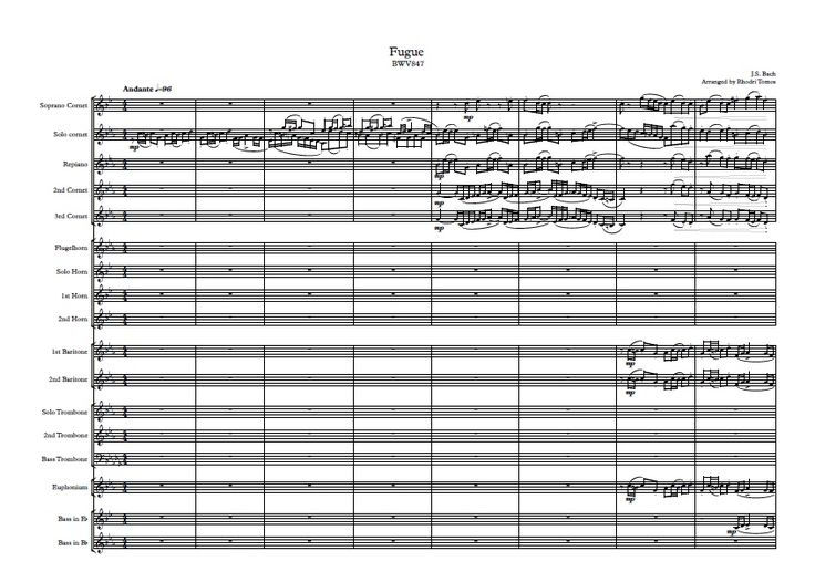 "A brass band arrangement of the J.S.Bach Fugue BWV 847 from ""The Well-tempered Clavier"" collection. Pdf contains full score and all parts. The original composition is transcribed to various instruments in the brass band. The fugue consists of at most 3 distinct musical lines at one time, played by v"