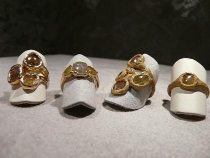 anelli in oro fuso o lucido con diamanti grezzi