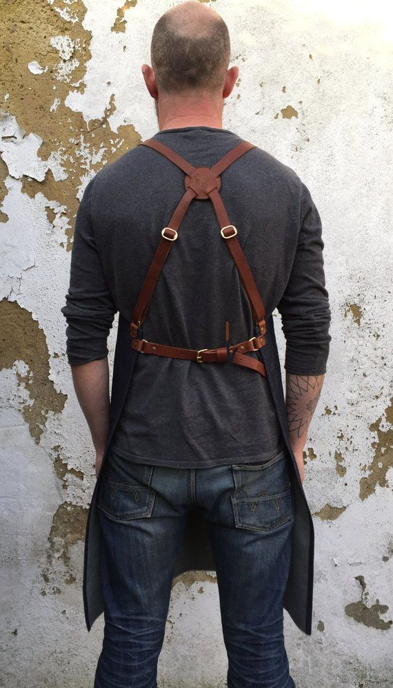 Selvedge denim and leather apron cross back by PAULAKIRKWOOD