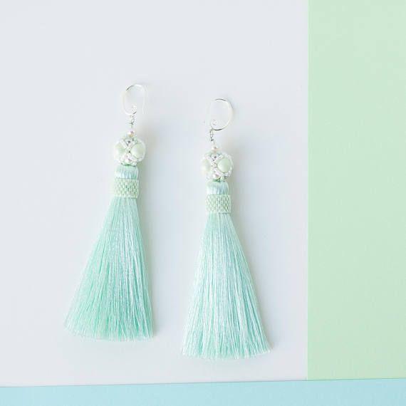 Mint Tassel Earrings Romantic Gift for Wife Dainty Earrings