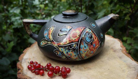 Handmade teapot Ceramic teapot Fish Glazed teapot by CeramaStudio