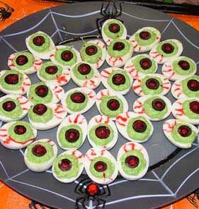 halloween food ideas eyeball deviled eggs make your favorite deviled egg recipe add blue food coloring to the yokes till a soft green color - Halloween Party Appetizers With Pictures