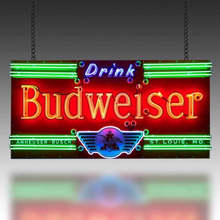 This stunning Budweiser sign dates from the 1930's and is extremely rare, principally because the logo incorporates a winged motif.