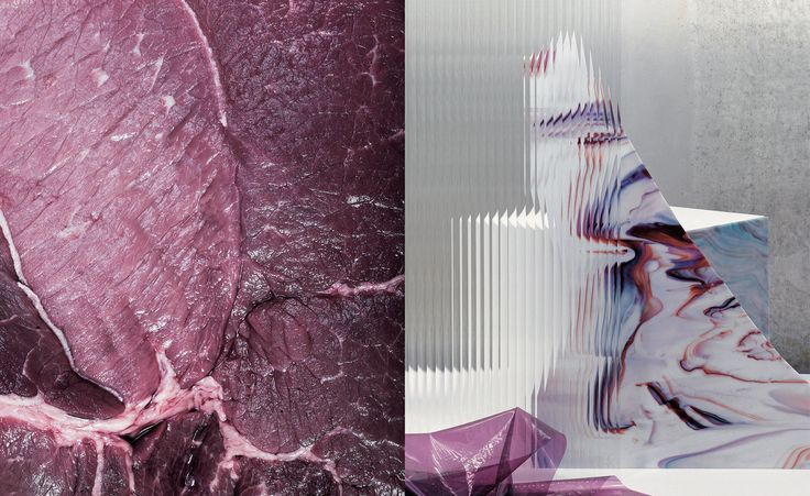 Meat Marble, by Patternity and Neil Watson; Right: Material Mesh Up, by Kate Jackling, with set design by Lightning + Kinglyface
