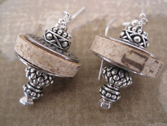 """Repurposed Wine Cork Earrings with Silver - these would be really cool made with a """"special occasion bottle of wine""""….."""