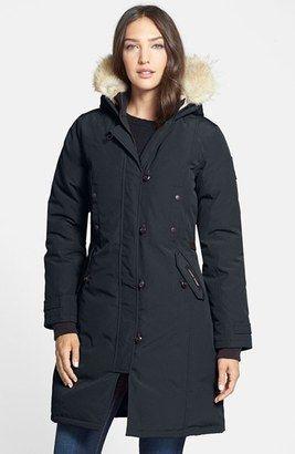 Shop Now - >  https://api.shopstyle.com/action/apiVisitRetailer?id=627238694&pid=uid6996-25233114-59 Women's Canada Goose Kensington Slim Fit Down Parka With Genuine Coyote Fur Trim  ...