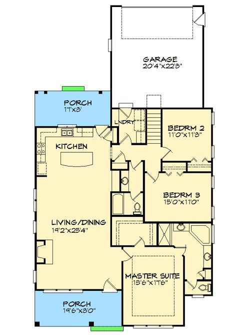 Southern Cottage for a Narrow Lot - 15043NC | Cottage, Ranch, Southern, Narrow Lot, 1st Floor Master Suite, Bonus Room, CAD Available, PDF | Architectural Designs