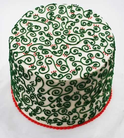 Love the red and green for a Christmas cake (tutorial includes how to put a cross in the middle of the cake layers to be seen when the cake is cut)