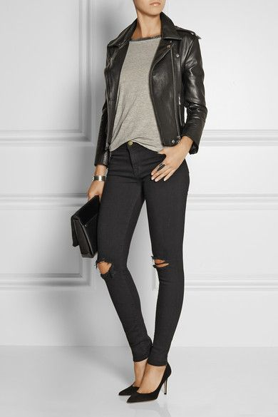 all black + grey leather jacket and torn skinny jeans