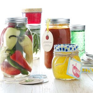 Pickled Peppers.  Great way tp preserve your garden pepper bounty!  I will add more sugar and cut into rings for fire and ice peppers.